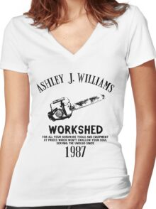 Ash vs Evil Dead - Ash's Chainsaw Women's Fitted V-Neck T-Shirt