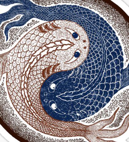 yin yang fish, shuiwudao mandala Sticker