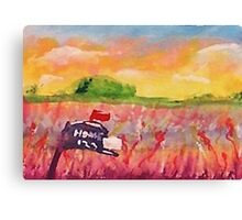 Country mail box, watercolor Canvas Print