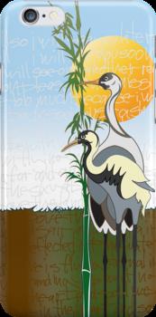 """Cranes"" iPhone Case by PONSHOP"