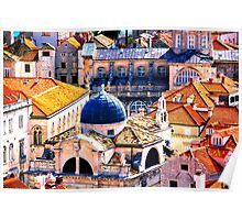 The Essence of Croatia - Red Terracotta Rooftops of Dubrovnik Poster