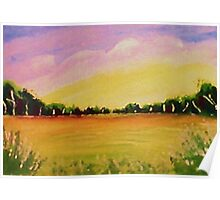 Peaceful meadow, watercolor Poster