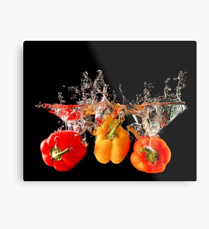 A Splash Of Peppers Metal Print