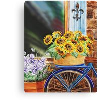Bicycle With Basket And Sunflowers Canvas Print