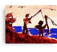 Family has gone fishing, watercolor Canvas Print