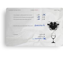 Funny Psychometric test paper Canvas Print