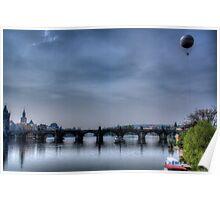Prague Blue Landscape Poster