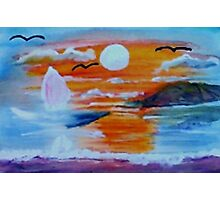 What a sunset!  watercolor Photographic Print
