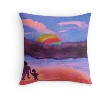 Follow that rainbow, watercolor Throw Pillow