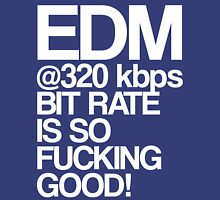 EDM at 320 kbps (white) Womens Fitted T-Shirt