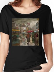 City - NY - Times Square on a rainy day 1943 Women's Relaxed Fit T-Shirt