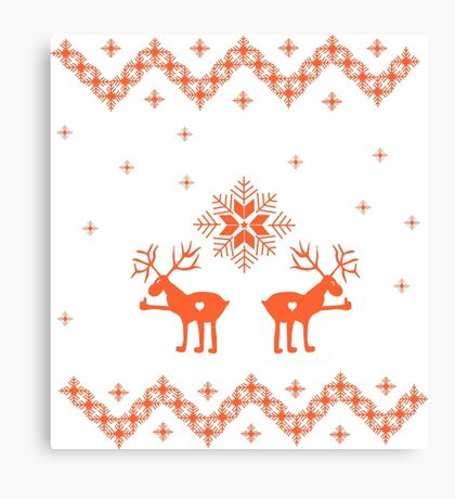 Winter ornament with deer and snowflakes Canvas Print