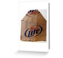 characters drawn on cardboard beer carton Greeting Card