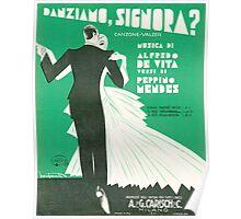 DANZIAMO SIGNORA? (vintage illustration) Poster