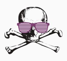 cool skull with purple techno glasses - funny graphic  by moonshine and lollipops