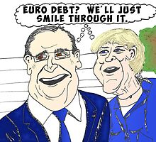 Binary options news caricature of Merkel and Hollande by Binary-Options