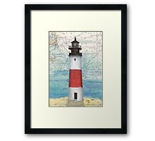Sankaty Head Lighthouse MA Nautical Chart Peek Framed Print