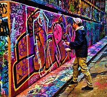 Hard at Work - Hosier Lane Melbourne by Graeme Buckland
