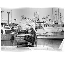 fisherman in the harbour, B&W Poster