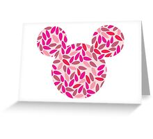 Mouse Silhouette Delicate Pink Leaves Pattern Greeting Card