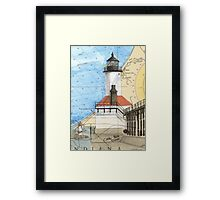 Michigan City Lighthouse IN Chart Cathy Peek Framed Print