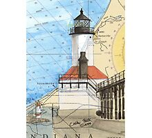 Michigan City Lighthouse IN Chart Cathy Peek Photographic Print