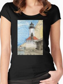 Michigan City Lighthouse IN Chart Cathy Peek Women's Fitted Scoop T-Shirt