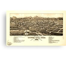 Panoramic Maps Bird's eye view of Canon City Colo county seat of Fremont County 1882 Canvas Print