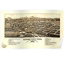 Panoramic Maps Bird's eye view of Canon City Colo county seat of Fremont County 1882 Poster