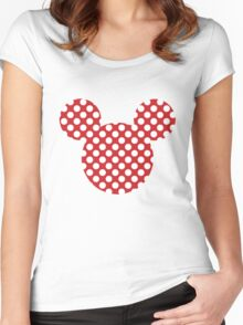 Mouse Silhouette Polka Dot Spotty Motif Women's Fitted Scoop T-Shirt