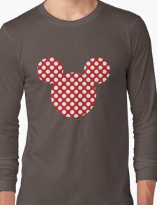 Mouse Silhouette Polka Dot Spotty Motif Long Sleeve T-Shirt
