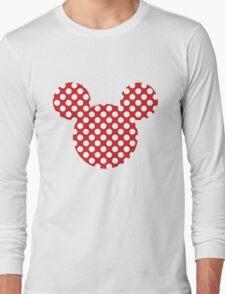 Mouse Silhouette Polka Dot Spotty Motif Long Sleeve T-Shirt