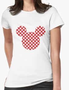 Mouse Silhouette Polka Dot Spotty Motif Womens Fitted T-Shirt