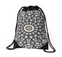 Black And Gray Abstract Drawstring Bag