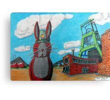 349 - COAL MINER BUNNY - DAVE EDWARDS - COLOURED PENCILS & INK - 2012 Canvas Print
