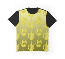 Yellow Skeleton Finger Graphic T-Shirt