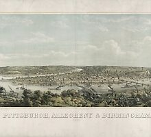 Panoramic Maps Pittsburgh Allegheny & Birmingham drawn from nature by wetdryvac