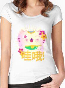 Maneki-neko (Lucky Cat) Women's Fitted Scoop T-Shirt