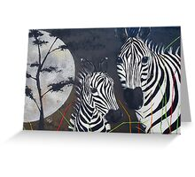 Zebras and a Really Big Moon Greeting Card