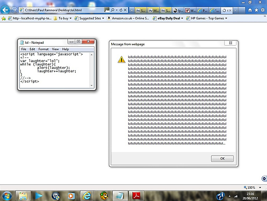 Javascript program: lol -(28/06/12)- screen printout by paulramnora