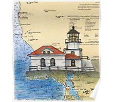 Pt Bonita Lighthouse CA Nautical Map Cathy Peek Poster