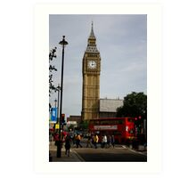 A bus crosses the intersection in front of Big Ben Art Print