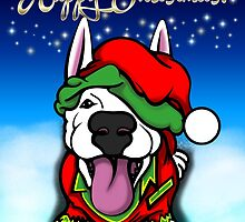 Christmas Festive Happy Bull Terrier by Sookiesooker
