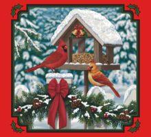 Cardinal Birds and Christmas Bird Feeder Kids Tee