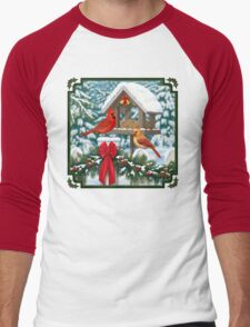 Cardinal Birds and Christmas Bird Feeder Men's Baseball ¾ T-Shirt