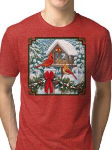 Cardinal Birds and Christmas Bird Feeder Tri-blend T-Shirt