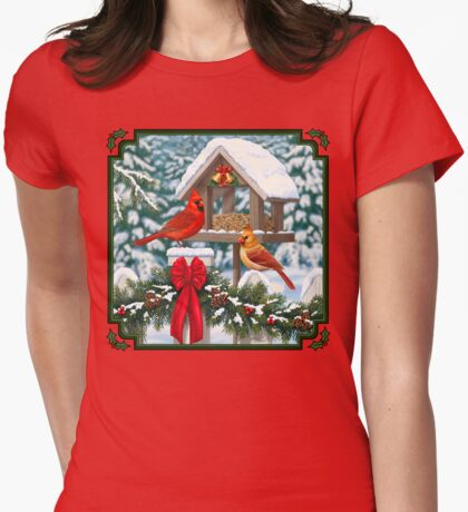 Cardinal Birds and Christmas Bird Feeder Womens Fitted T-Shirt