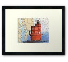 Wolf Trap Lighthouse VA Nautical Map Cathy Peek Framed Print