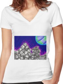 Waiting for the Resurrection (on the Moon) Women's Fitted V-Neck T-Shirt