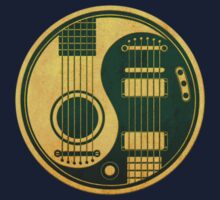 Vintage Green and Yellow Acoustic Electric Guitars Yin Yang Baby Tee